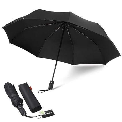 Paraguas Automático de Viaje Plegable 9 Nervaduras Resistente al Viento Impermeable Protección de Rayos Ultra Violeta