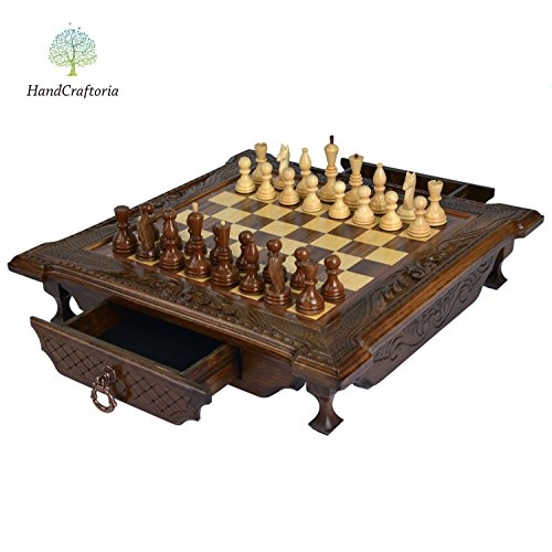 Big Handmade Walnut Wood chess set 19.3 inch with 2 drawers (storage boxes). High Detail Unique Board Game. Gorgeous and Amazing gift from Armenia Europe