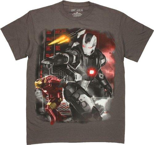 Marvel Men's Iron Man 3 Movie Machine Wars T-Shirt, Charcoal, Large