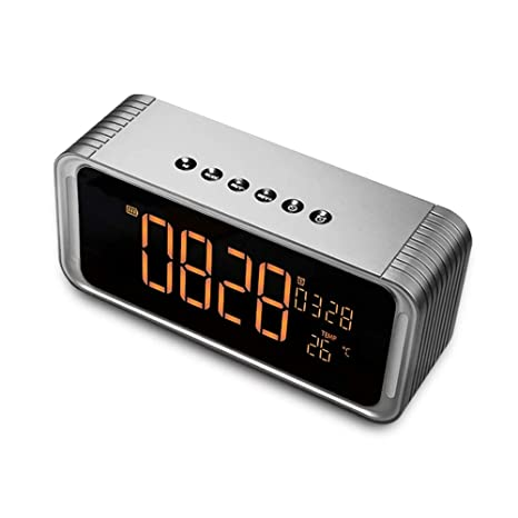 Bluetooth Speaker Stereo FM Radio, ZEPST Wireless Speaker with LED Screen, Alarm Clock, Bold Bass, Handsfree, 8h Playtime for iPhone, Mobile, Tablet ...