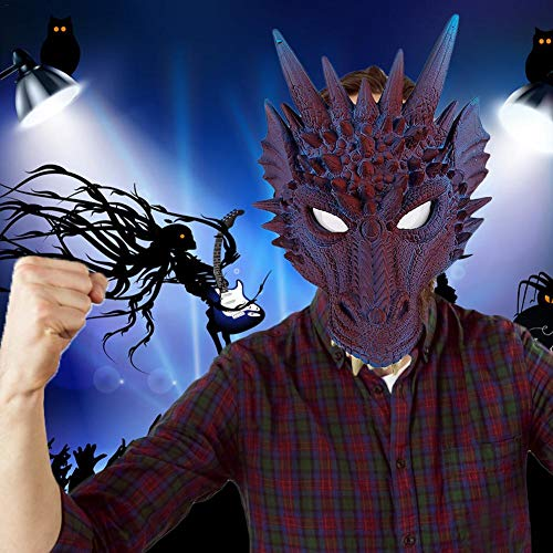 3D Animal Dragon Mask for Halloween Carnival Party Horror Props- Adult Standard Dragon, One Size for Christmas, Costume Parties, Carnival, Easter, New Year's Eve Party-11.8X7.9in