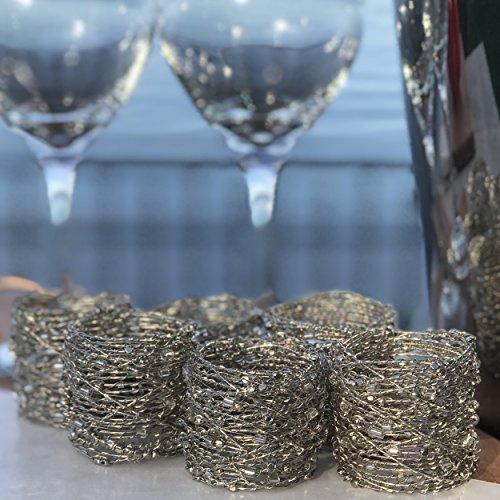 La plata humo Crystal Beaded servilleteros, Set de 6, hecho a mano, alambre trenzado, Clarín y semillas Beads, aprox....