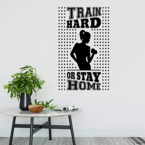Poraet Vinly Art Decal Words Quotes Train Hard Or Stay Home Gym Fitness Trainer Beautiful Body