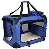 Pet Dog Carrier Portable House Soft Sided Cat Comfort Travel Tote Bag (32x23x23 Inches, Blue) For Sale