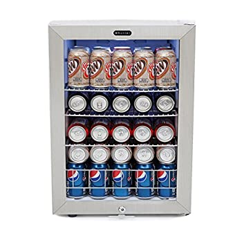 Image of Beverage Refrigerators Whynter BR-091WS, 90 Can Capacity Stainless Steel Beverage Refrigerator with Lock, White