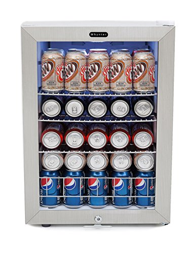 Whynter BR-091WS, 90 Can Capacity Stainless Steel Beverage Refrigerator with Lock, White from Whynter