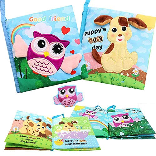 SPIEL Soft Activity Baby Books - Best Cloth Book Touch and Feel Crinkle Books for Toddler, Infants and Kids Early Education Toys for 1 2 3 Year Old Boys Girls, Interactive, Non-Toxic by SPIEL