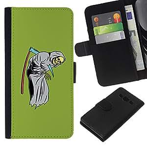 A-type (Guadaña de la Muerte Divertido Reaper Grim Verde) Colorida Impresión Funda Cuero Monedero Caja Bolsa Cubierta Caja Piel Card Slots Para Samsung Galaxy A3