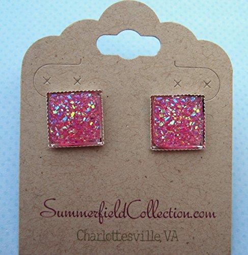 hot-pink-geometric-square-shaped-flat-faux-druzy-stud-earrings-12mm-statement-silver-tone