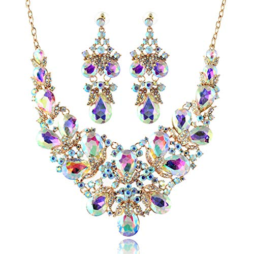 LAN PALACE Turkish Jewelry 18k Gold Austrian Crystal Necklace and Earrings for Wedding Women Jewelry Set (White AB) Designer Austrian Crystal Pendant Necklace