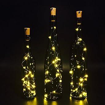 Amazon.com: Set of 3 Wine Bottle Lights, ATTAV Warm White LED Cork Shaped Starry String Lights ...
