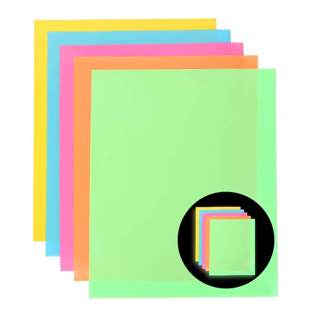 Heat Transfer Vinyl,Glow in Dark Vinyls Sheets,Iron on Vinyl for DIY Clothing,Shirts,Bags,Hats,Socks 7 Colors, 10inX12in