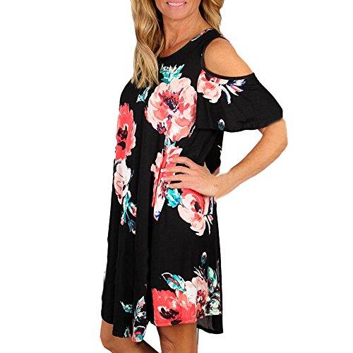 Vovotrade Mujeres Verano hermosa flor de vacaciones sin tirantes Señoras vestido de impresión de playa S