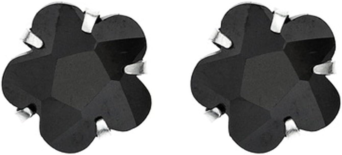 Córdoba Jewels | Pendientes en plata de Ley 925. Diseño Flor Ónix Omega