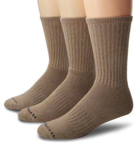 Carhartt Mens 3 Pack Work Wear Cushioned Crew Socks, Khaki, Shoe: 6-12