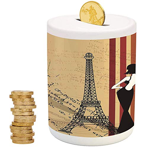 (iPrint Paris City Decor,Ceramic Coin Bank,Top Slot Porcelain Nursery Décor Baby Bank,Grunge Background Classical Glamor Woman with Cigarette Fashion Pattern Retro Art)