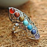 suchadaluckyshop by Lucky 925 Silver Healing Hollow Stones Adjustable 7 Chakra Ring Thumb Reiki Gem Ring