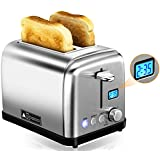 Toasters 2 Slice, PICTEK LCD Digital Display Stainless Steel Toaster with 6 Shade Settings, Bagel Function with LED Indicator, Extra-Wide Slot, 900W