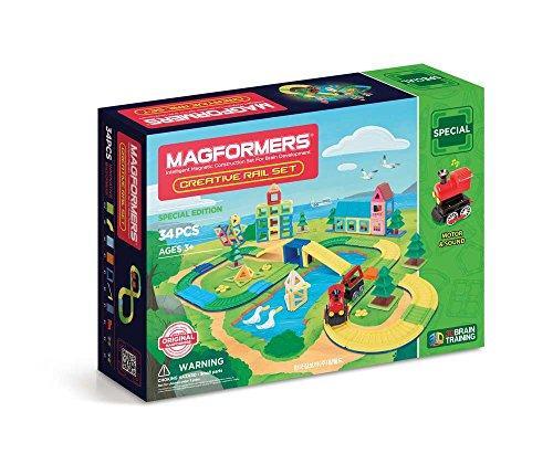 Magformers Creative Rail (34 Piece) Accessory Set Magnetic    Building      Blocks, Educational  Magnetic    Tiles Kit , Magnetic   - Tile Rails