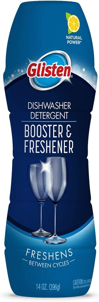 Glisten Booster and Freshener Dishwasher Detergent Crystals, Removes Hard Water Stains and Odors, Safe on Glassware and Dishes, All-Natural, Fresh Lemon, 14 Ounces