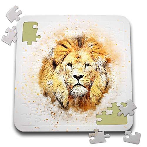 3dRose Lens Art by Florene - Watercolor Art - Image of Portrait Painting of Majestic Lion - 10x10 Inch Puzzle (pzl_300361_2)