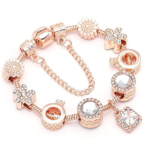 Tea language Vintage Cryatal Beads Charm Bracelet Female Rose Gold Snake Chain Fine Bracelet for Women -