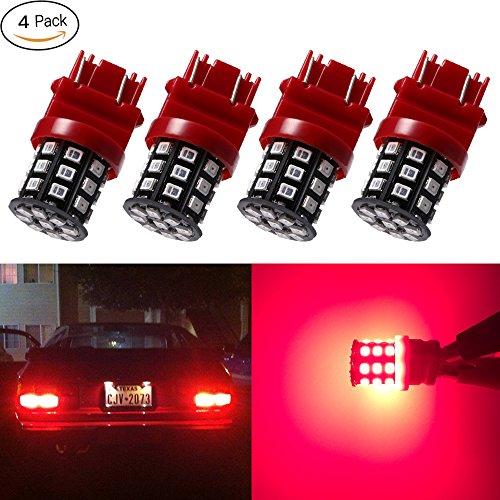 Hyper Red Light Bulb (Antline 3157 3156 3057 4157 3056 LED Bulbs Brilliant Red, 12-24V Super Bright 600 Lumens Replacement for Backup Reverse Lights, Tail Brake Lights, Turn Signal Lights (Pack of 4))