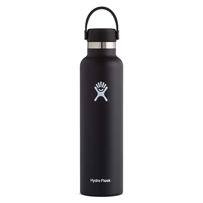 Hydro Flask Standard Mouth Water Bottle, Flex Cap - 24 oz, Black