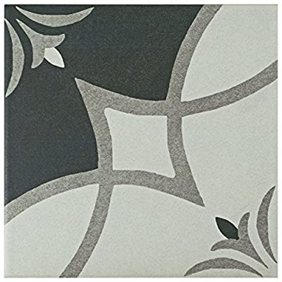 "SomerTile FRC8TWCS Fifties Ceramic Floor and Wall Tile, 7.75"" x 7.75"", White/Grey"
