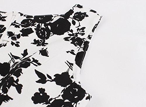 Femmes Crazycatz Robe Swing Robe De Thé Coton Vintage Fleur Noire