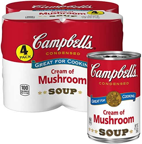 Campbell's Condensed Cream of Mushroom Soup, 10.5 oz. Cans, 4 Count