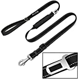 Cheap BIBTIM Adjustable Length Dog Leash Build in Car Seat Belt & Storage Bag, Heavy Duty Leash for Small Medium and Large Dog, 2 Padded Handles Perfect for Daily Training Walking Running, Black