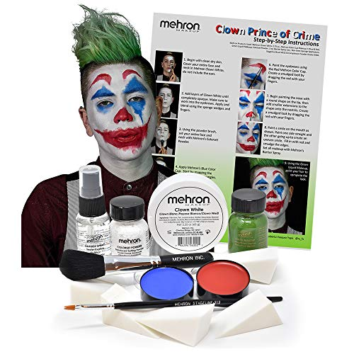 Mehron Clown Costume Makeup Kit - 8 Piece All in One Halloween Cosmetics with Joker Face Paint - Step-by-Step Instructions]()