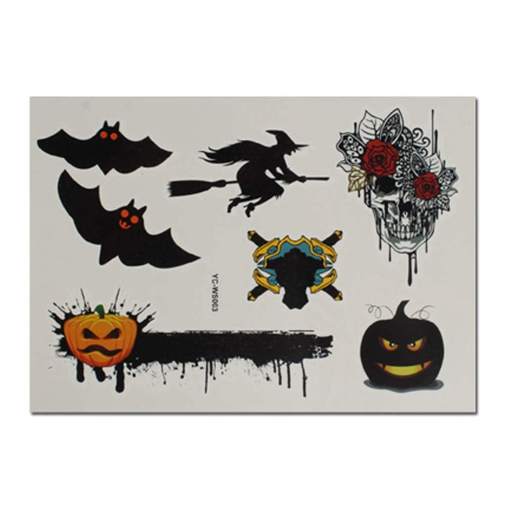 4 hojas de bruja murciélago Halloween tatuaje temporal pegatinas ...
