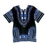 Vipada Handmade's Traditional Dashiki Shirt for men and women Black with Blue L