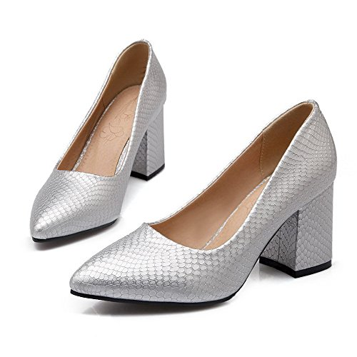 Odomolor Women's Pointed-Toe Pull-On PU Solid Kitten-Heels Pumps-Shoes, Silver, 37