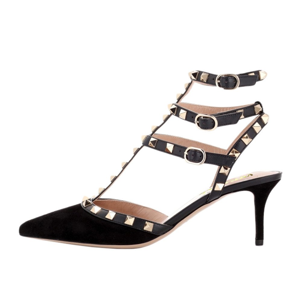 EKS Mesdames Stiletto Mesdames Spikes Stiletto Rivets Noir Straps Sandales Pompes Cuir Suédé Noir 3dd30df - avtodorozhniks.space