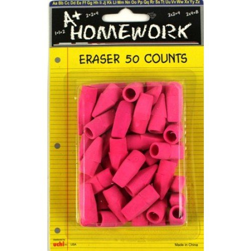50 PINK PENCIL TOP ERASERS, Case of 48