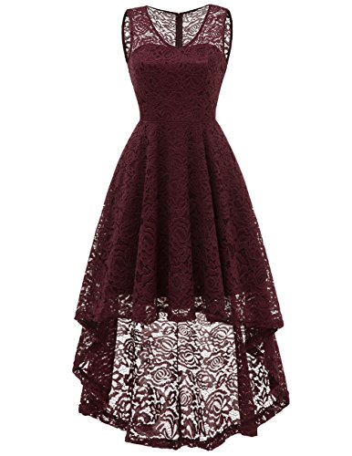 DRESSTELLS Women's Cocktail V-Neck Dress Floral Lace Hi-Lo Formal Swing Party Dress Burgundy XL