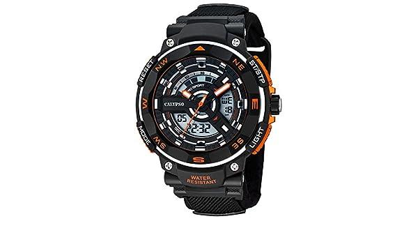 Calypso hombre-reloj deportivo textil-pulsera cuarzo-reloj negro esfera de colour negro Naranja UK5673/1: CALYPSO: Amazon.es: Relojes