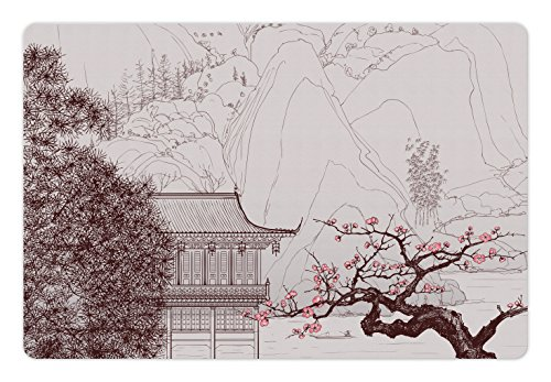- Ambesonne Asian Pet Mat Food Water, Chinese Religion Temple Sakura Trees Mountain Forms Pagoda Eastern Artwork Print, Rectangle Non-Slip Rubber Mat Dogs Cats, Pink Brown