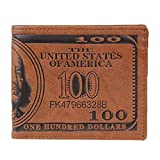 Noopvan Wallet, 2018 Creative Us Dollar Bill Billfold Wallet PU Leather Wallet Purses Brown Wallet (Brown)