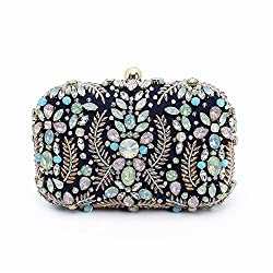 Women Elegant Purple Rhinestone Evening Clutch
