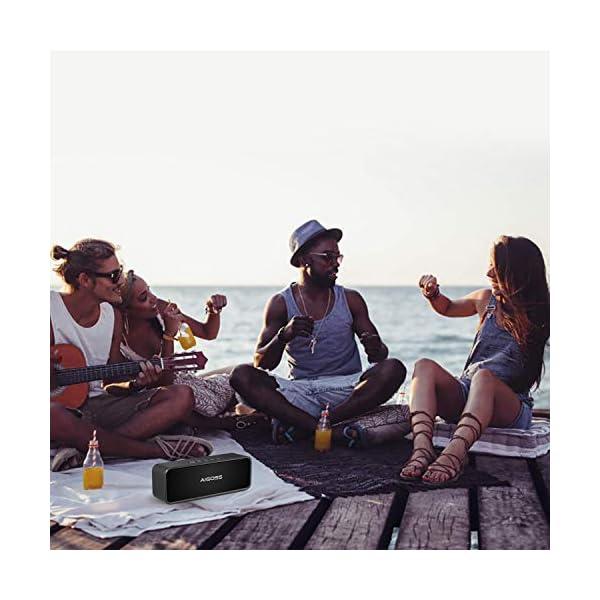 Aigoss Enceinte Bluetooth Portable, Haut-Parleur Bluetooth 5.0 Enceinte Portable Pilote Double Subwoofer Son HD Stéréo Mains Libres, Radio FM Fonction TF Carte Noir 7