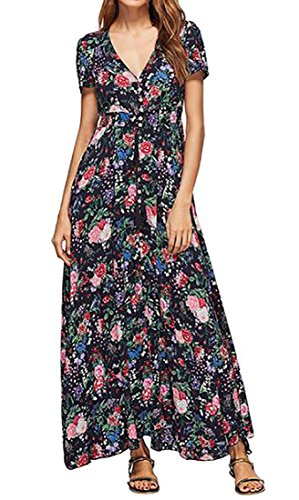 Womens Dress V Full Short Black Cruiize Neck Evening Long Floral Length Sleeve Fwvqdq7