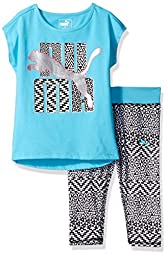 PUMA Toddler Girls\' Puma Legging Set, Blue Atoll, 2T