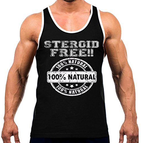 Interstate Apparel Inc Men's 100% Natural Steroid Free Tee White Trim Black Tank Top Medium Black