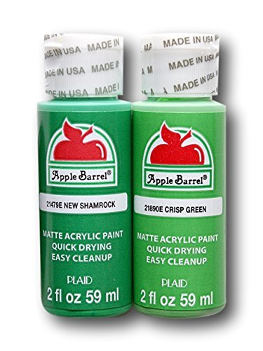 Apple Barrel Acrylic Paint Classic Green Hues Set - New Shamrock and Crisp Green (2 Ounces Each)