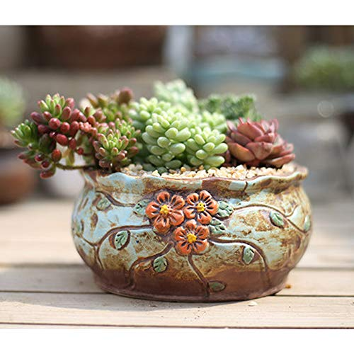 Better-way Vintage Ceramic Planter Box Flower Pot Shabby Chic Orchid Planter Container Decorative Centerpiece Ornaments (Flower Floral Embossed 5.5 Inch, Brown) ()