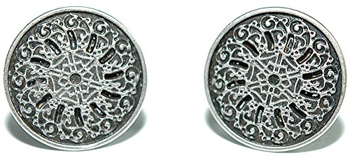 Silver Tone Filagree Metal Stud Earrings (S012)